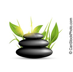 Stack of spa stones with grass and sunshine isolated on white