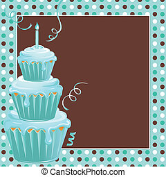Cute polkadot background with three teal frosted stacked cupcakes and candle welcome your guests to this 1st birthday party. Great for triplets on their first birthday or just one child.