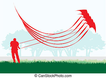 Man flying stacked stunt kite in silhouettes