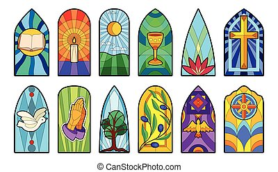 Stained glass vector cartoon icon set . Collection vector illustration window church on white background. Isolated cartoon icon set stained glass for web design.