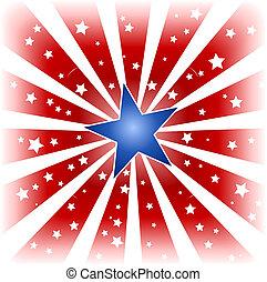 Star burst in USA colors