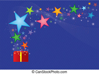 Star floating from gift box : vector format