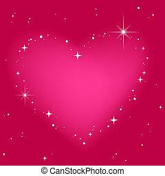Star heart in pinkt sky
