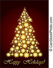 Starry Christmas tree gold