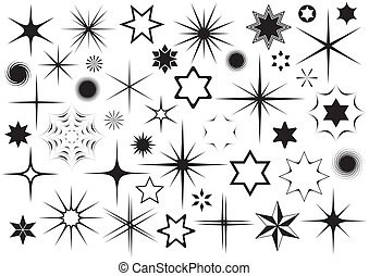 Various black vector stars collection on white background