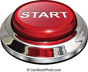 Start button, 3d red glossy metallic icon, vector.