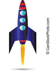 Stylized vector illustration of a starting rocket ship on white background