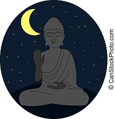 Statue of buddha, illustration, vector on white background.