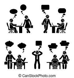 Stick figure business people communication set