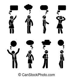 Stick figure business people speech bubble set