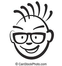 Stick figure business punk head