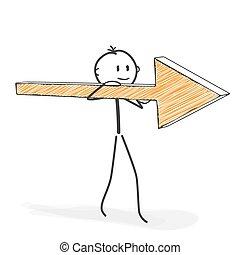 Stick Figure Cartoon - Stickman With Arrow Icon on his Shoulder.