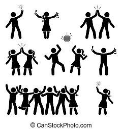Stick figure celebrating people icon set
