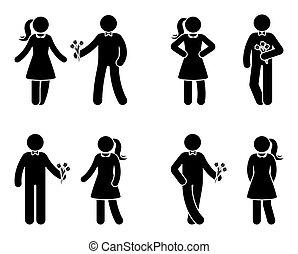 Stick figure couple in love icon set