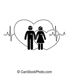 Stick figure couple. Man and woman in love vector illustration