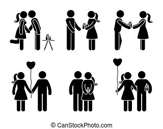 Stick figure couple with gift set