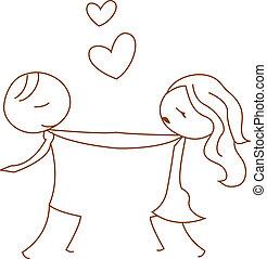 stick figure dancing couple