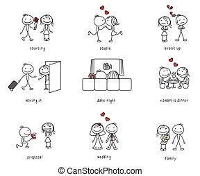 stick figure dating, romance, couple life