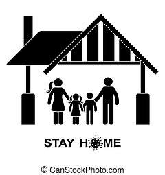 Stick figure family stay home vector icon illustration pictogram. Quarantine, self-isolation global pandemic prevention man, woman, children silhouette
