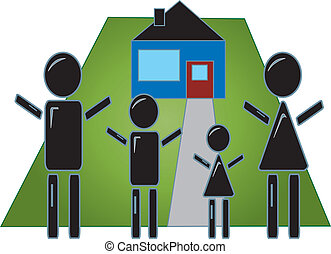 Stick Figure Family With Home
