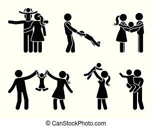 Stick figure happy family activity icon set