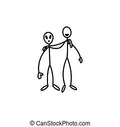 Stick figure man and alien