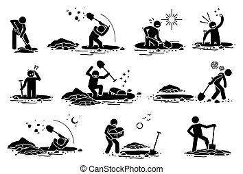 Stick Figure man digging hole.
