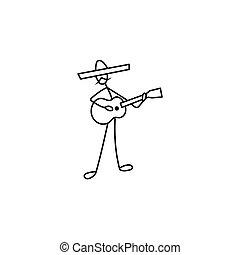 Stick figure man guitarist in sombrero