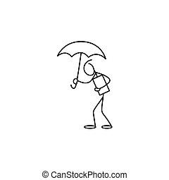 Stick figure man holding umbrella