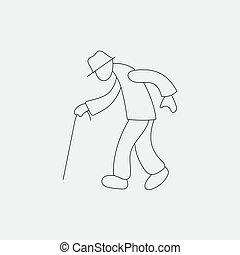 Stick figure old man