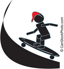 Stick Figure Skateboarding