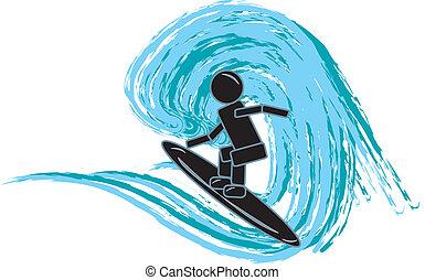 Stick Figure Surfing
