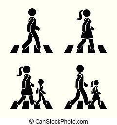 Stick figure walking pedestrian vector icon pictogram