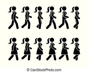 Stick figure walking woman vector icon pictogram