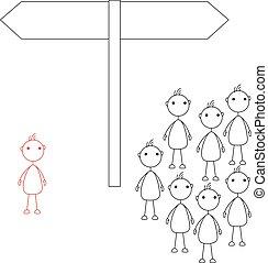 Stick figures standing