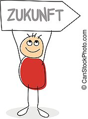 Stick man figure holding sign with word zukunft