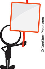 stickman blank signboard