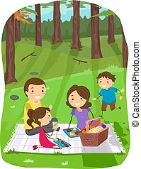 Stickman Family Forest Picnic Illustration