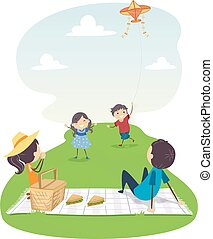 Stickman Family Picnic Flying Kite Illustration