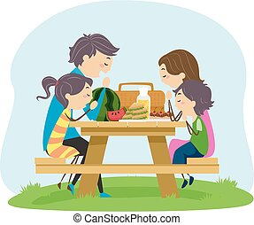 Stickman Family Picnic Pray Food Illustration