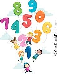 Stickman Kids Balloon Numbers Flying Illustration