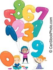 Stickman Kids Balloon Numbers Illustration