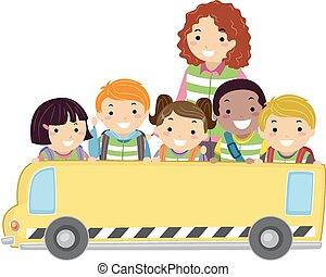 Stickman Kids Bus Banner