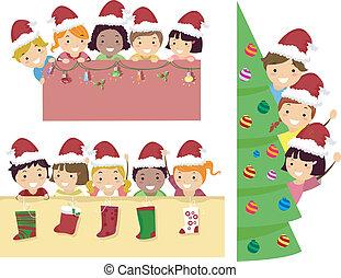 Stickman Kids Christmas Banner