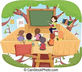 Stickman Kids Class Tree House
