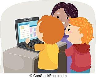 Stickman Kids Laptop Class Illustration