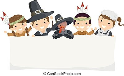 Stickman Kids Pilgrim Thanksgiving Banner