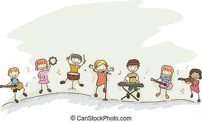 Stickman Kids Playing Music