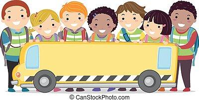 Stickman Kids School Bus Banner