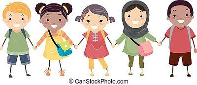 Illustration of Stickman Kids Celebrating Diversity